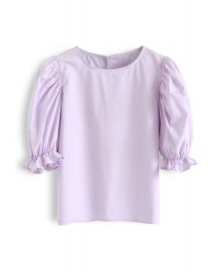 Bubble Sleeves Round Neck Top in Lilac