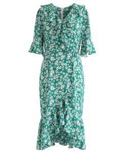 Dainty Floret Print Asymmetric Frilling Dress in Green