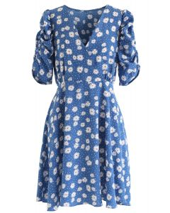 Full-Blown Daisy Print Wrapped Midi Dress in Blue
