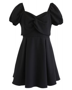 Knot Front Sweetheart Neck Pleated Dress in Black