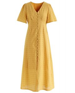 Eyelet Embroidery Button Down Dress in Mustard