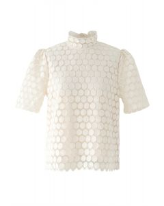 Full Circle Embroidered Short Sleeves Mesh Top