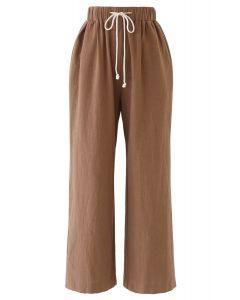 Drawstring Waist Wide-Leg Pants in Caramel