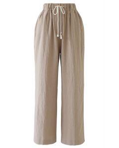 Drawstring Waist Wide-Leg Pants in Linen