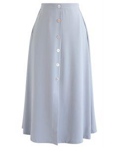 Split Shell Button Trim Midi Skirt in Dusty Blue