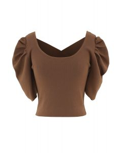 Cross Back Puff Mid-Sleeve Knit Top in Caramel