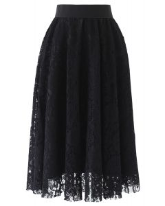 Full Floral Lace Midi Skirt in Black