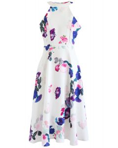 Baroque Rose Print Halter Neck Dress