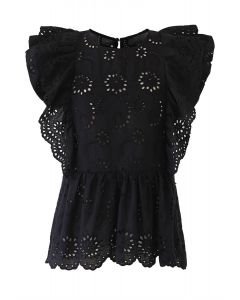 Ruffle Trim Eyelet Embroidery Sleeveless Top in Black