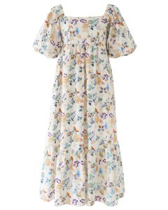 Multicolored Posy Print Frill Hem Dolly Dress