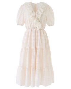 Lace Trim Plaid Organza Dress in Cream