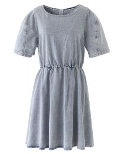 Open-Waisted Hi-Lo Denim Midi Dress in Washed-Blue