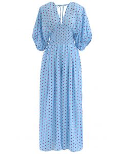 Dot Print Plunging Neck Shirred Wide-Leg Jumpsuit in Blue