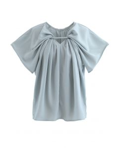 V-Neck Twisted Flare Sleeves Top in Dusty Blue