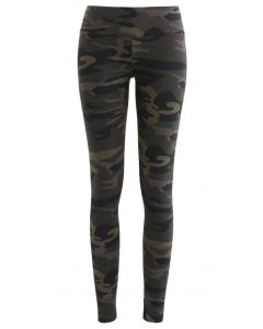 Camouflage High-Rise Fitted Ankle-Length Leggings in Taupe