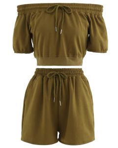 Drawstring Off-Shoulder Crop Top and Shorts Set in Moss Green