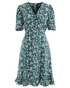 Blissful Floret Print Frill Hem Wrap Midi Dress in Green