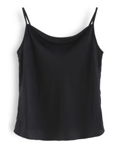 Cowl Neck Satin Cami Top in Black