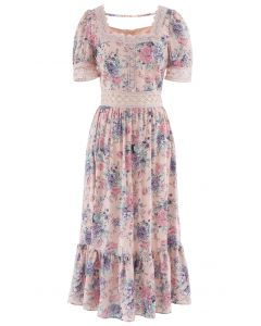 Crystal Button Crochet Floral Square Neck Dress in Pink