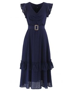 Buckle Belt V-Neck Ruffle Embroidered Eyelet Dress in Navy