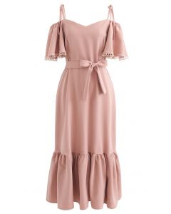 Cold-Shoulder Flare Sleeves Frill Hem Dress in Coral