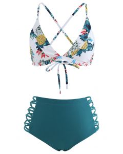 Tie Back Printed Crisscross High Waist Bikini Set