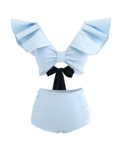 Plunging V-Neck Bowknot Ruffle Trim Bikini Set