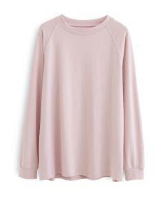 Long Sleeves Loose Pullover Sweatshirt in Pink