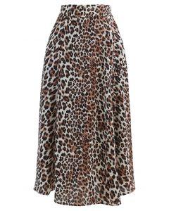 Cheetah Print A-Line Midi Skirt