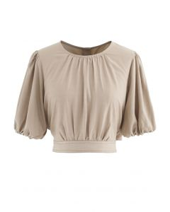 Button Back Bowknot Crop Top in Sand