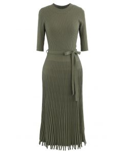 Mock Neck Fringed Hem Ribbed Knit Midi Dress in Army Green