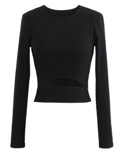 Hollow-Out Waist Sleeves Crop Top in Black
