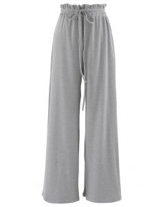 Drawstring Paper-Bag Waist Ribbed Yoga Pants in Grey