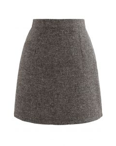 Wool-Blended Bud Mini Skirt in Army Green