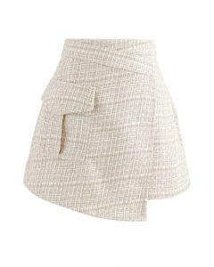 Tweed Asymmetric Mini Skirt in Light Yellow