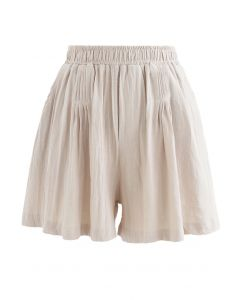 Pintuck Front Pockets Cotton Shorts in Linen