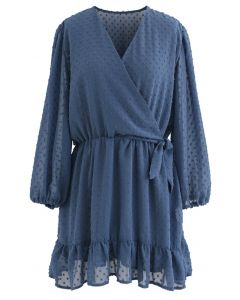Flock Dots Knot Side Ruffle Wrapped Chiffon Dress