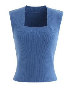 Square Neck Sleeveless Ribbed Knit Top in Blue