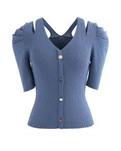 Cutout Shoulder Button Down Fitted Knit Top in Blue