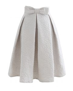Bowknot Waist Full Floral Jacquard Pleated Skirt in Silver