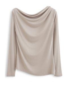 Drape Neck Long Sleeves Top in Light Tan