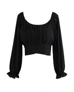 Bow Tie Back Cropped Top in Black