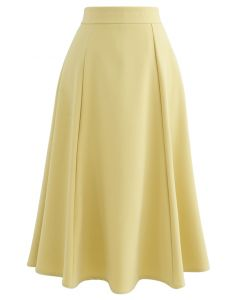 Seam Detail Flare Hem Midi Skirt in Yellow