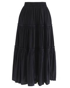 Swing Pleated Midi Skirt in Black