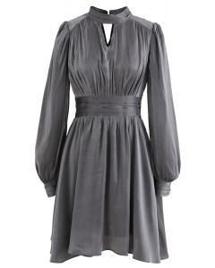 Shiny High Neck Pleated Dress in Grey
