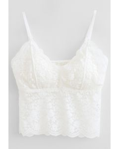 Lace Crop Tank Top in White