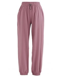 Drawstring Pockets Tapered Joggers in Dusty Pink
