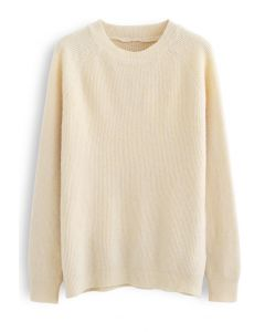Basic Soft Touch Oversized Knit Sweater in Cream