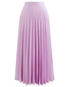 High-Waisted Full Pleated Maxi Skirt in Pink