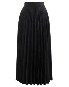 High-Waisted Full Pleated Maxi Skirt in Black